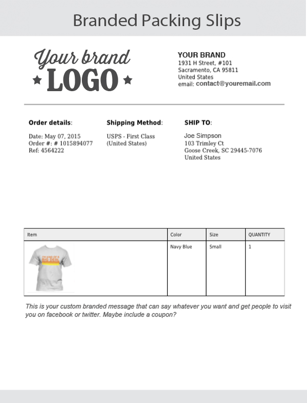 Branding Services Packing Slips – Packing Slips for Shipping