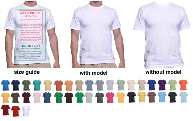 TShirt Mockup Templates To Help Display TShirt Designs Print - T shirt print out template