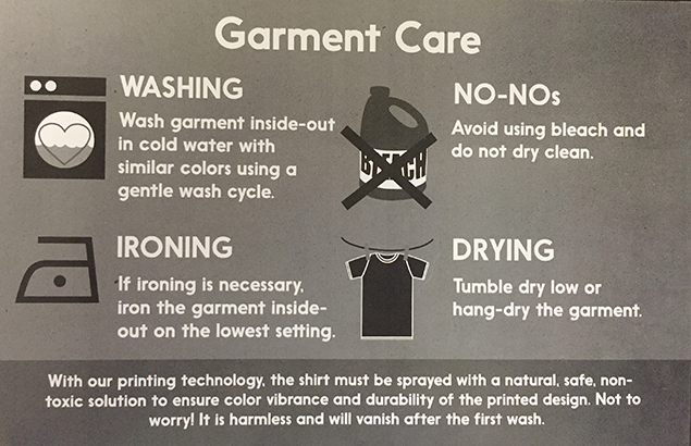 Garment Care Card