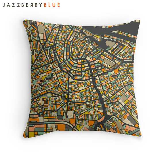 Amsterdam Map Pillow